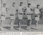 The 1960 Varsity Tennis Team - from left to right are Lee Reid, George Blosser, Roger Taylor, Loren Stayboldt and Wayne