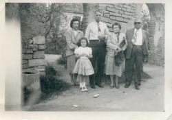 Relatives from Wisconsin visiting in California c. 1948.  Diane Deal in her outfit that her mother made for herâ
